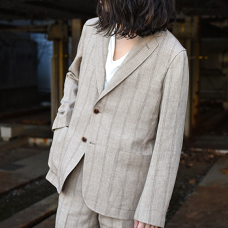 AURALEE / Linen Wool Silk Shark Skin Jacket