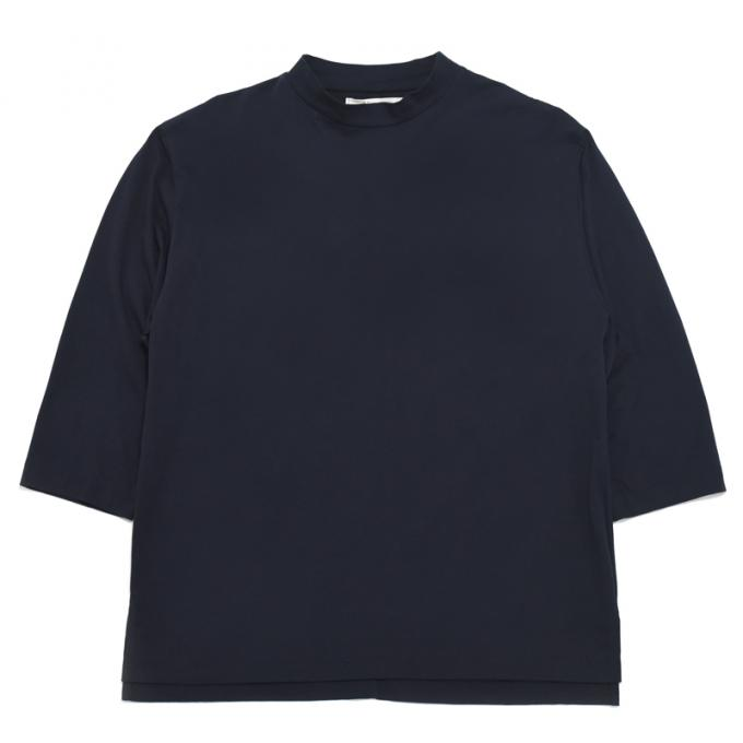 Honor gathering / Italian Cotton Smooth Mock Neck Tee (Navy)