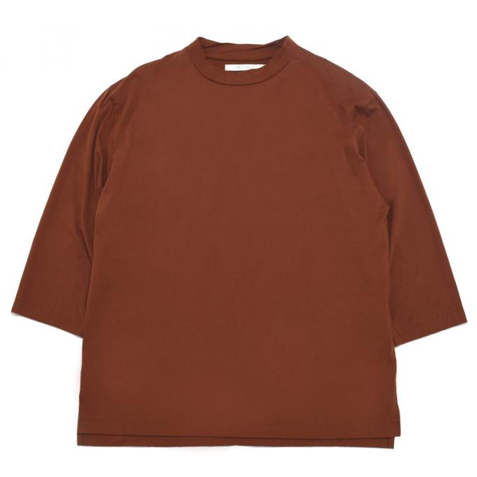 Honor gathering / Italian Cotton Smooth Mock Neck Tee (Spice Brown)