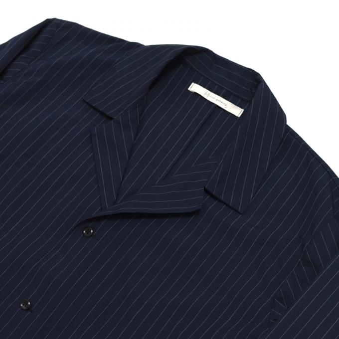 Honor gathering / Pin Stripe Open Collar Shirt Jacket (Navy)