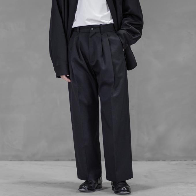 stein / Wide Straight Trousers (Black)