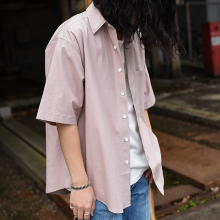 AURALEE / Washed Finx Twill Half Sleeved Shirts (Light Pink)