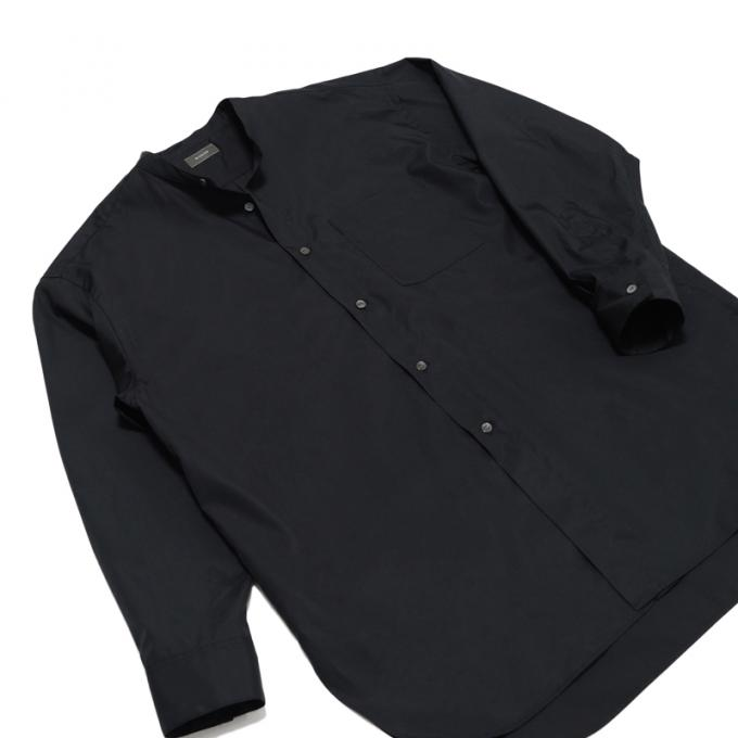 WIRROW / Long Stand Collar Shirt (Black)