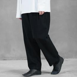 WIRROW / Cotton Twill Tuck Pants (Black)