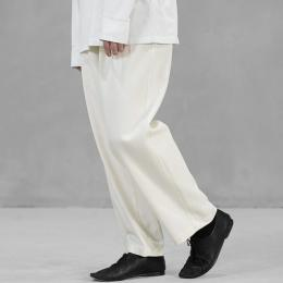 WIRROW / Cotton Twill Tuck Pants (Off White)