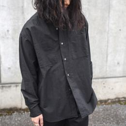 WIRROW / Cotton Linen Stand Collar Shirt (Black)