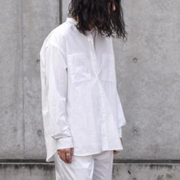 WIRROW / Cotton Linen Stand Collar Shirt (White)
