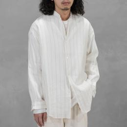 Phlannel / American Sea Island Cotton Linen Band Collar Shirt