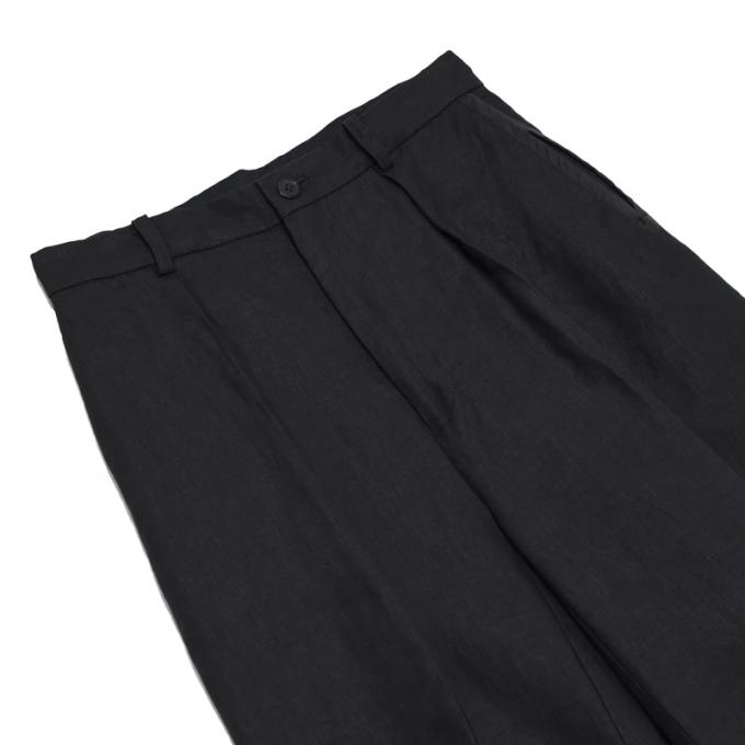 MAINU / Linen Sleeve Pattern Cutted Trousers (Black)