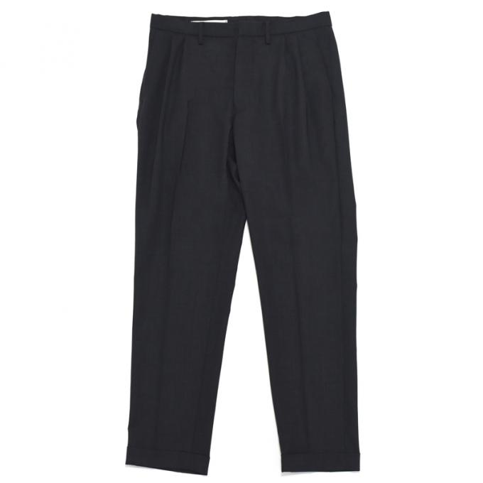Honor gathering / Boil Smooth Wool Stretch Tropical 2tuck Slacks (Dark Charcoal)