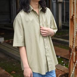 【SALE】AURALEE / Washed Finx Twill Half Sleeved Shirts (Light Green)