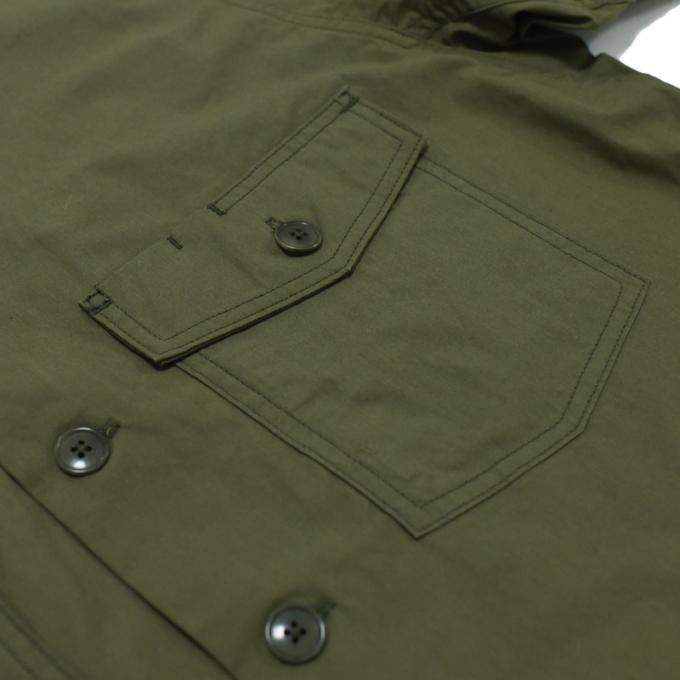 YAECA / LIKE WEAR ベイカーシャツ (Olive-Blocks)