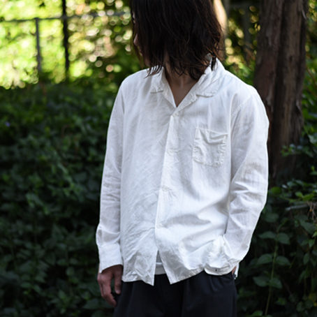 AULICO / Open Collar Shirt (White)