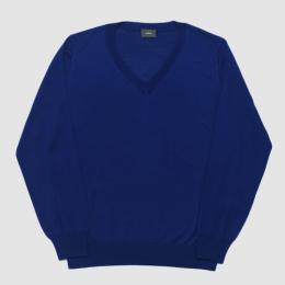 【SALE】WIRROW / High Gauge V-Neck Knit (Blue Navy)
