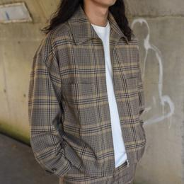 AURALEE / Wool Serge Check Zip-up Blouson
