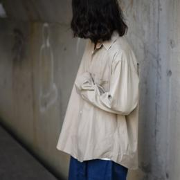 AURALEE / Washed Finx Twill Big Shirts (Gray Beige)