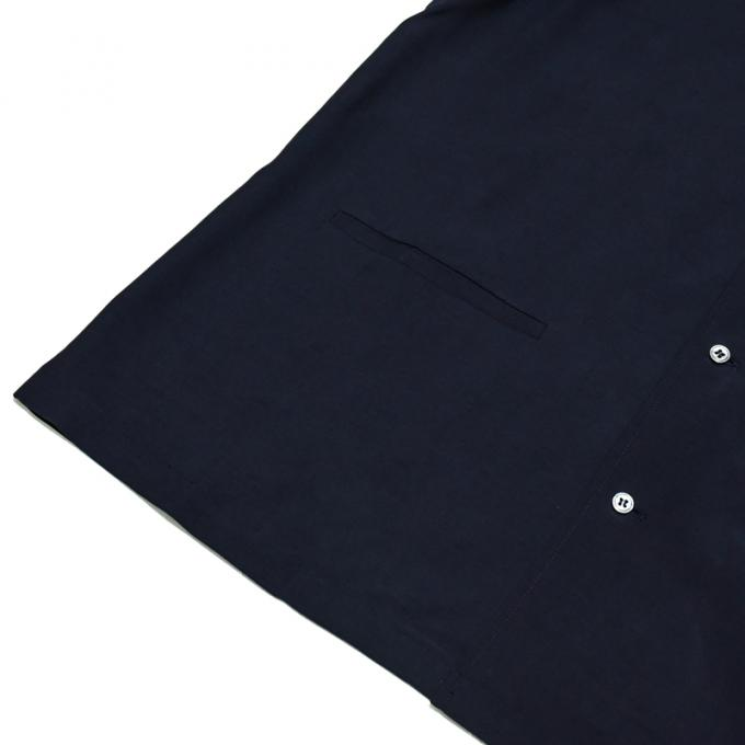 STUDIO NICHOLSON / Fluid Shirting Camp Collar Box Shirt (Dark Navy)