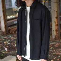 AURALEE / Super Soft Wool Flannel Zip Shirts (Black)