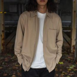 AURALEE / Super Soft Wool Flannel Zip Shirts (Light Beige)