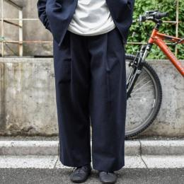 STUDIO NICHOLSON / Wool Twill Volume Pants (Dark Navy)