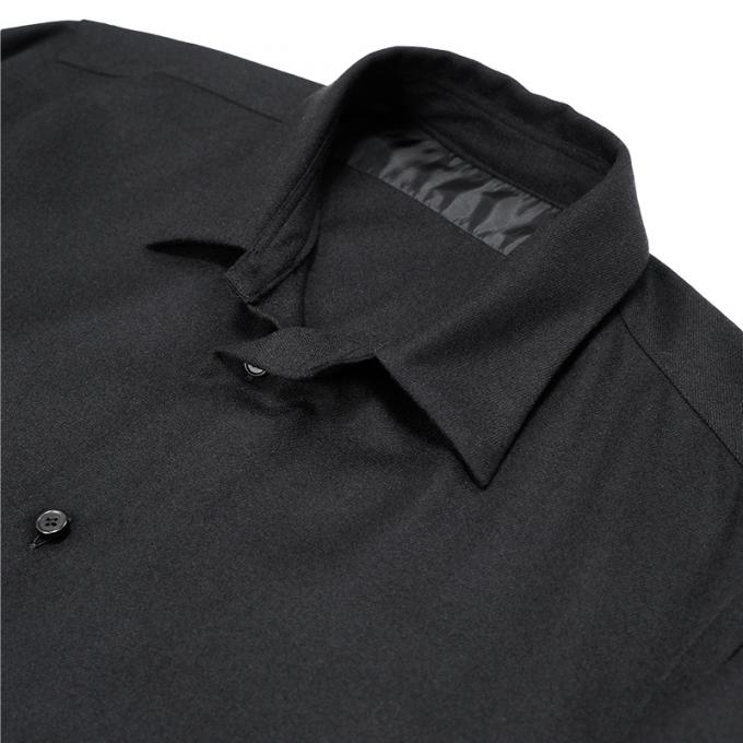 un/unbient / Wool Flannel Regular-Collar Shirt (Black)