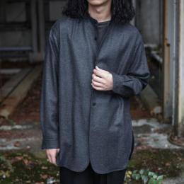 un/unbient / Wool Flannel Stand-Collar Shirt