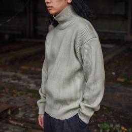 AURALEE / Super Fine Wool Rib Knit Turtle Neck P/O (Pale Green)