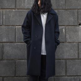 AURALEE / Wool Silk Melton Soutien Collar Coat (Black Navy)