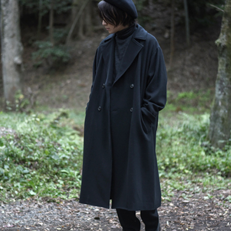 WIRROW / Double-breasted Over Coat (Black)