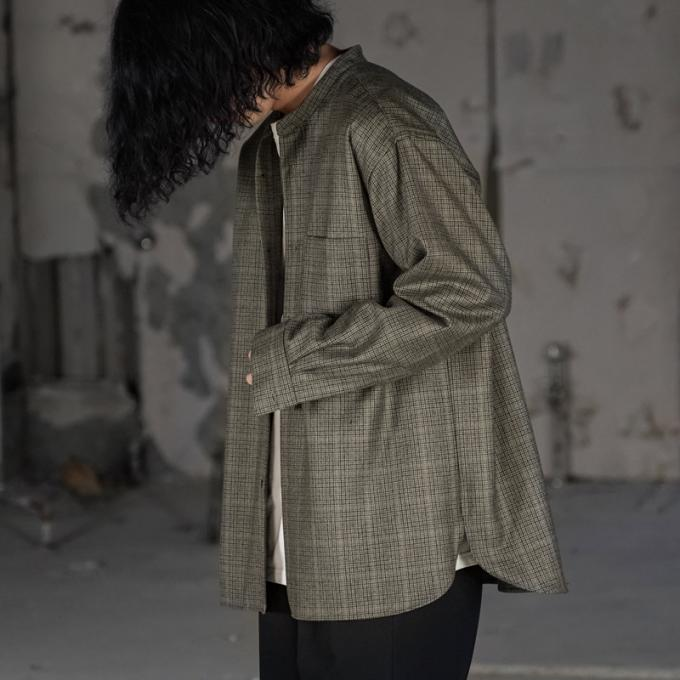 WIRROW / Check Wool Stand Collar Shirt