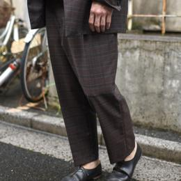 STUDIO NICHOLSON / Italian Wool Check Double Pleat Tapered Pants