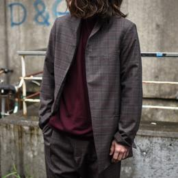 STUDIO NICHOLSON / Italian Wool Check Shawl Collared Tailored Jacket