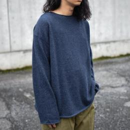 WIRROW / Alpaca Wool Wide Knit Pullover (Dusty Navy)