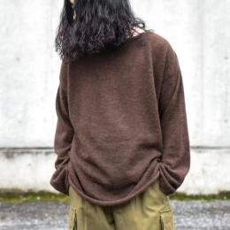 WIRROW / Alpaca Wool Wide Knit Pullover (Dark Brown)