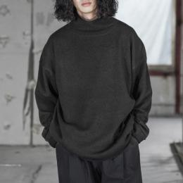 WIRROW / Bottle Neck Knit Pullover (Black)