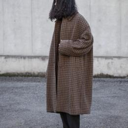 YOKE / Double Jquard Knit Bal Collar Coat (Brown)