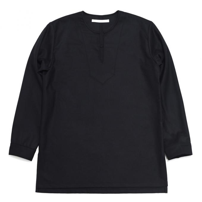 Honor gathering × twelve / Fine Wool Flannel Kurta Shirt (Black)